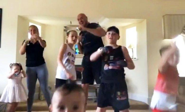 Watch as Tyson Fury's family workout with his five children descends into brilliant chaos
