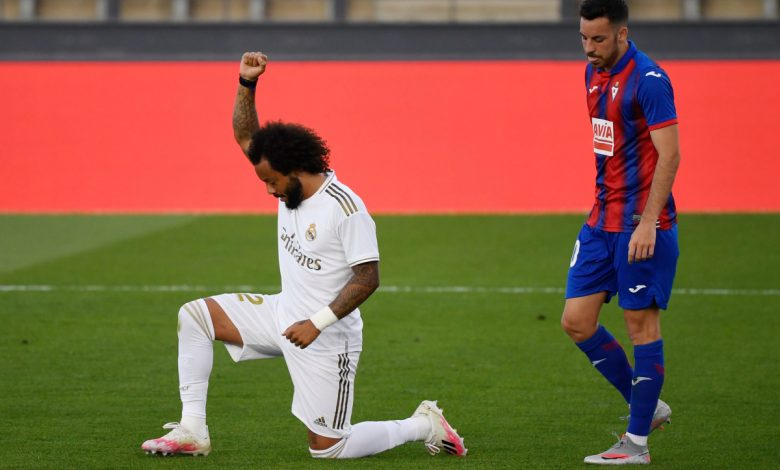 Marcelo kneels in solidarity with Black Lives Matter movement as Real Madrid beat Eibar to keep pressure on LaLiga leaders Barcelona