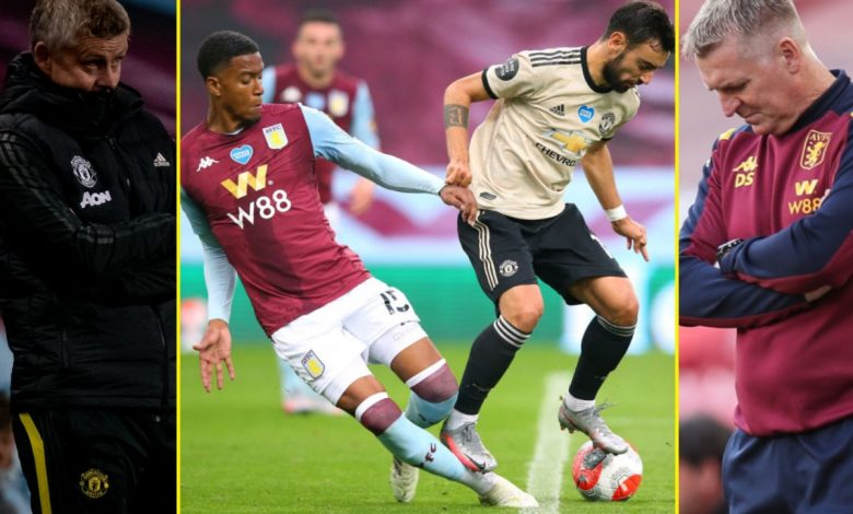 Aston Villa 0-3 Manchester United: Solskjaer and Smith disagree on Bruno Fernandes penalty call with latter slamming 'disgraceful decision'