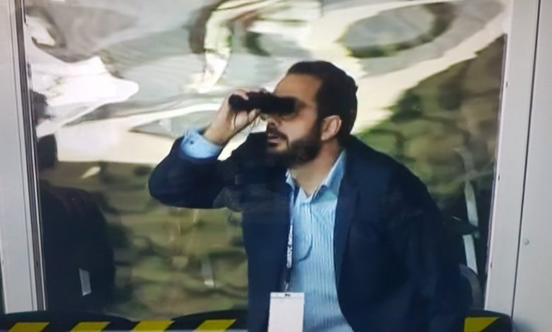 Leeds director of football Victor Orta mocks Derby 'Spygate' with binoculars celebration after win at Pride Park