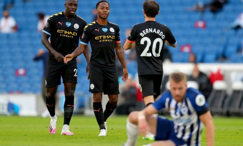Raheem Sterling scores unique header to seal hat-trick as Manchester City thrash Brighton 5-0