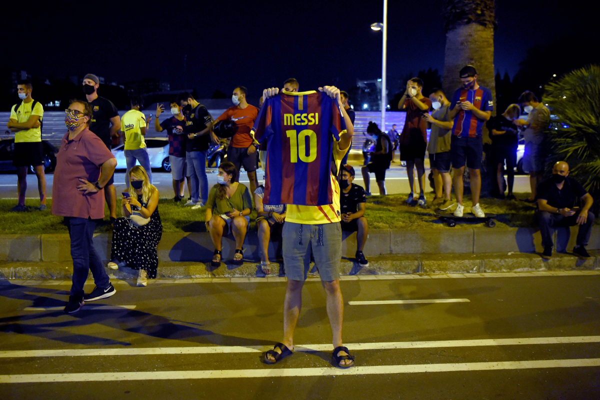 Barcelona fans call on president Josep Maria Bartomeu to resign outside club offices after Lionel Messi's transfer bombshell