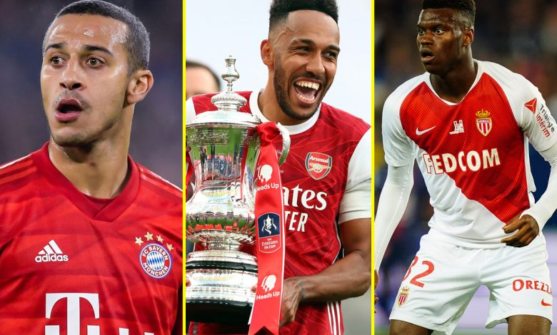 Transfer news LIVE: Arsenal told Aubameyang 'warrants £500,000 per week', Man United make contact over 'next Varane', Liverpool 'very likely' to sign Thiago