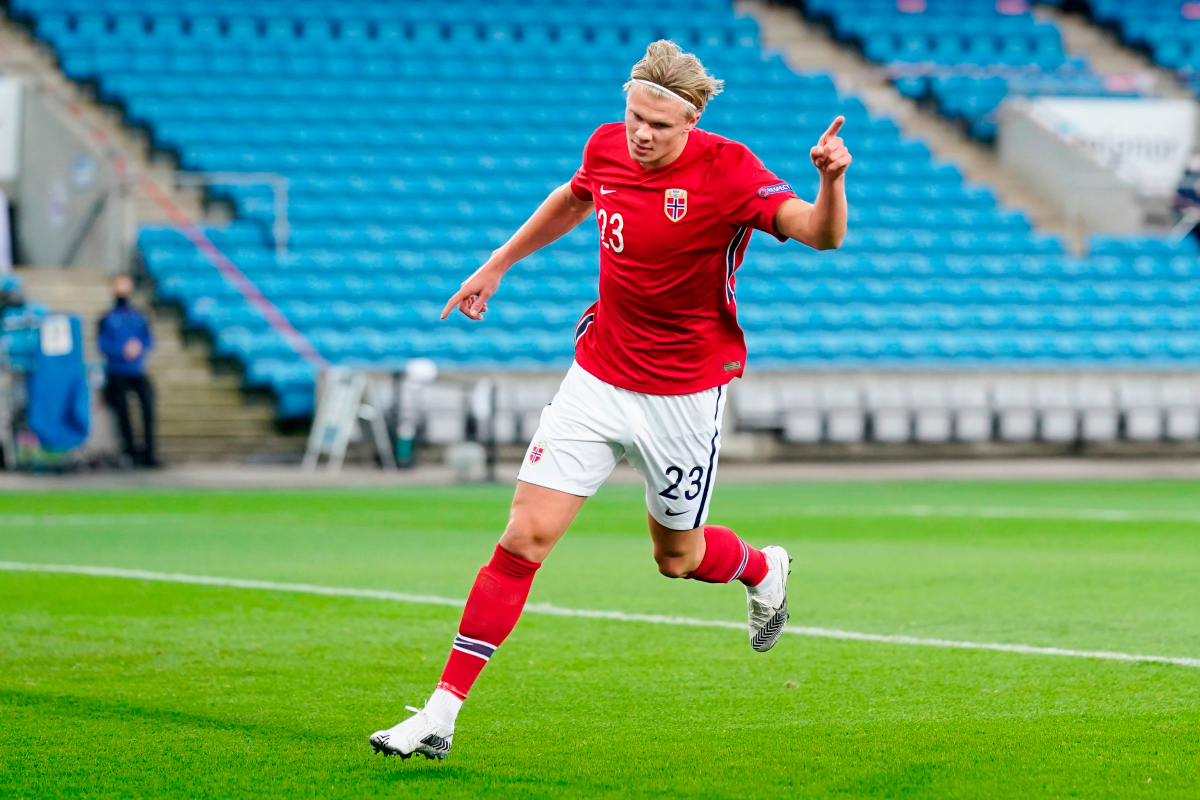 Borussia Dortmund striker Erling Haaland nets first hat-trick for Norway to maintain stunning goal record