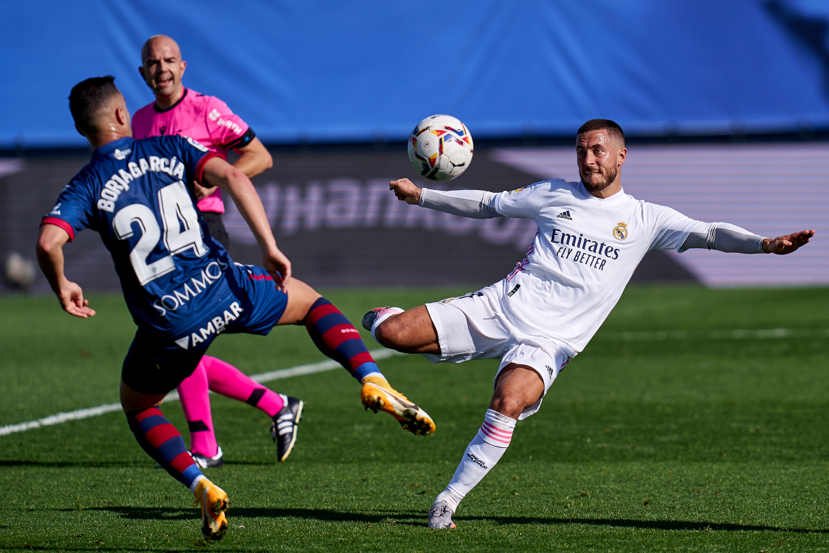 Former Chelsea star Eden Hazard scores first Real Madrid goal in OVER A YEAR with thunderbolt strike against Huesca