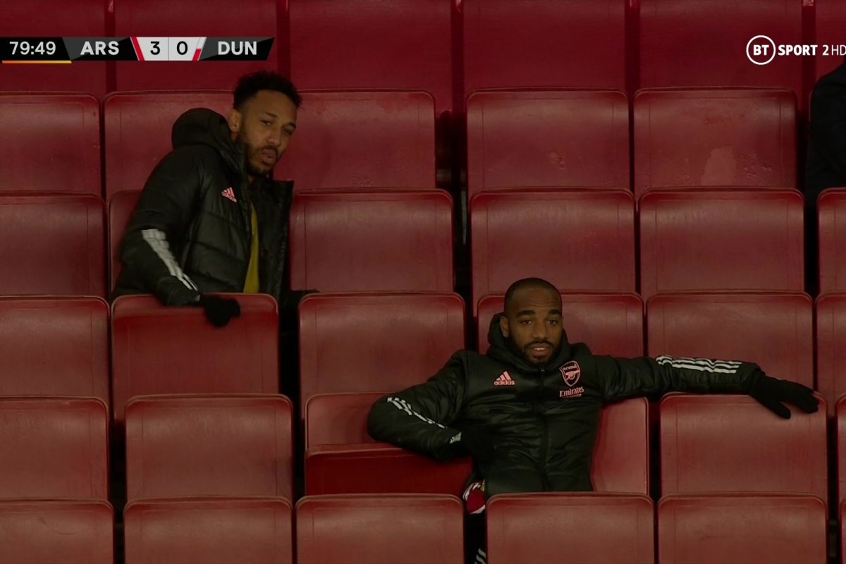 Pierre-Emerick Aubameyang appears to slam Emirates Stadium seat down during Arsenal's comfortable Europa League win over Dundalk