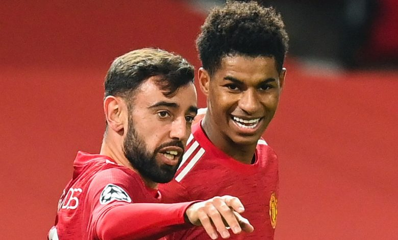 Manchester United midfielder Bruno Fernandes gives up chance of first-half Champions League hat-trick to hand Marcus Rashford penalty instead