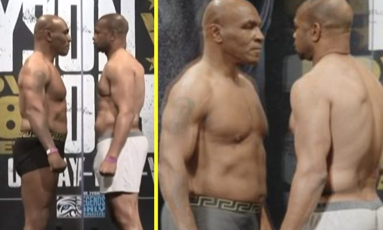 Mike Tyson vs Roy Jones Jr Weigh-in RESULT: 'Iron Mike' LIGHTER for heavyweight return than he was for Trevor Berbick in 1986