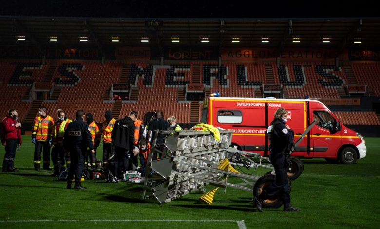 FC Lorient groundsman, 38, tragically dies after a floodlight bar falls on him in freak accident after Ligue 1 club's defeat to Rennes