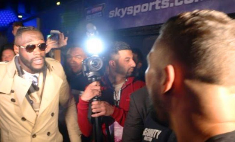 Watch when Tony Bellew clashed with Deontay Wilder and exchanged heated words backstage at Anthony Joshua vs Wladimir Klitschko weigh-in