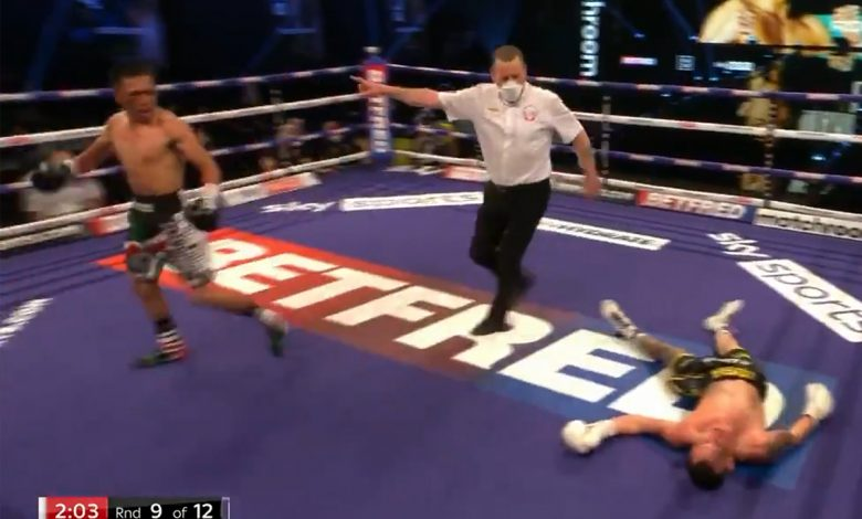 Josh Warrington KNOCKED OUT: Watch huge upset as former IBF featherweight champion is KOd by Mexican underdog Mauricio Lara
