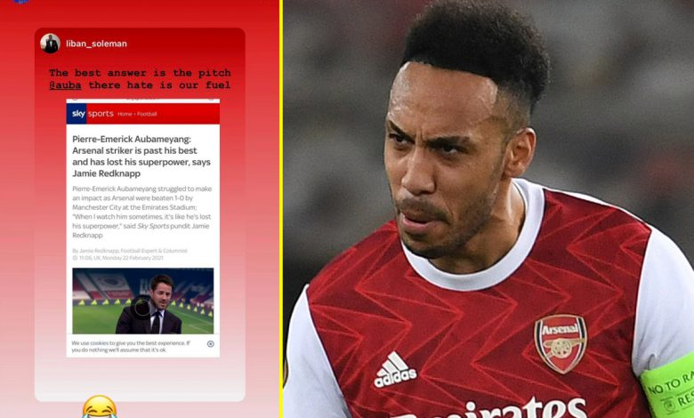Pierre-Emerick Aubameyang laughs off Jamie Redknapp's claim he's 'past his best' as Arsenal star nets twice in Europa League victory