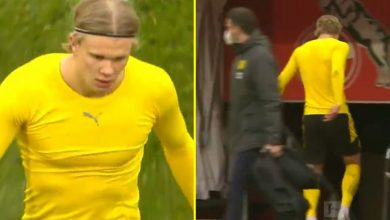 Photo of Erling Haaland STORMS OFF pitch after scoring twice in Borussia Dortmund stalemate amid stories suggesting he 'needs to depart for Actual Madrid'