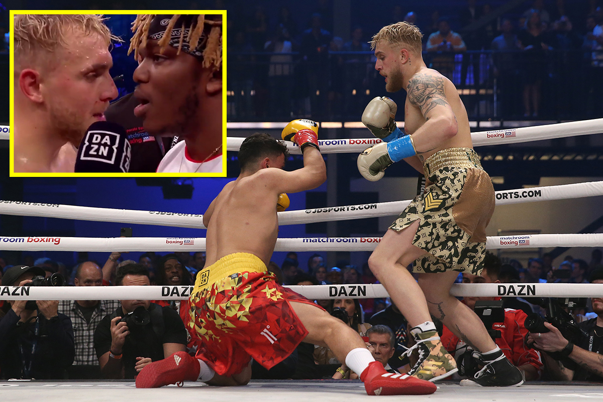 Watch when Jake Paul knocked out AnEsonGib in first-round before clashing with KSI in interview