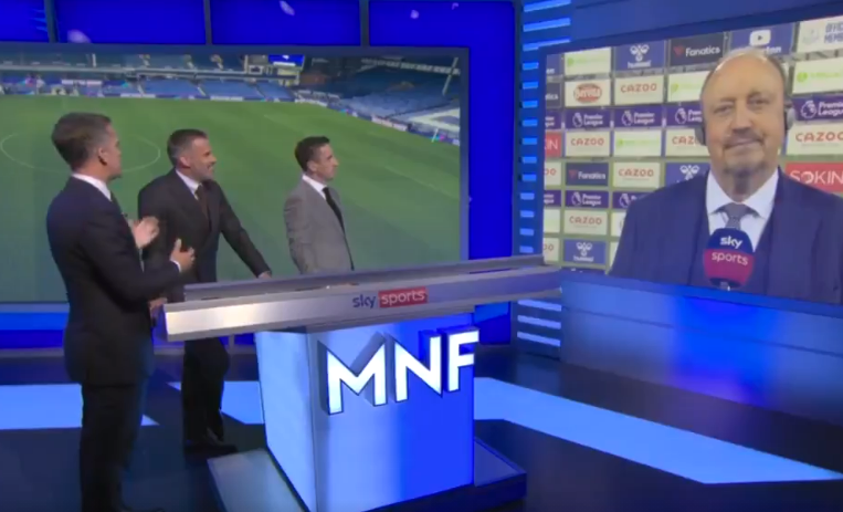Jamie Carragher and Rafael Benitez rib each other about working together at Liverpool after Everton win on Monday Night Football