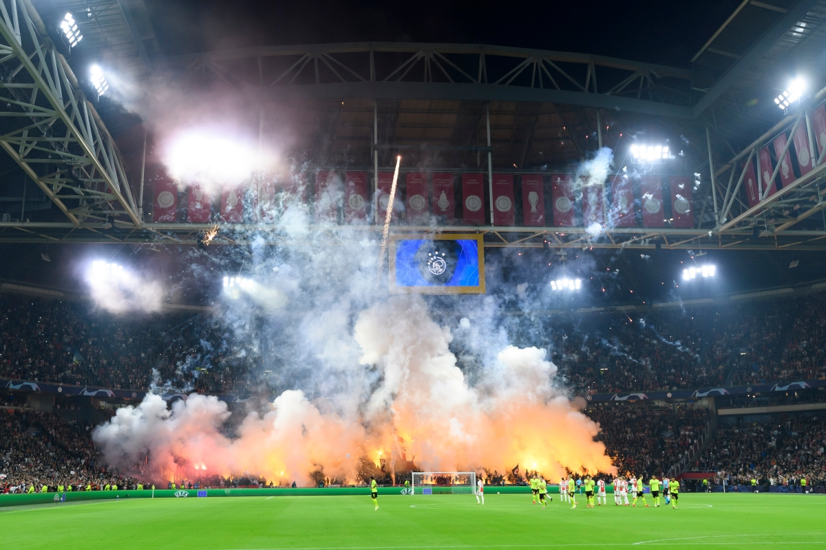Ajax fans let off fireworks for astonishing pre-match light show before heroes thrash Borussia Dortmund 4-0 as Erling Haaland and Jude Bellingham fail to fire in Amsterdam